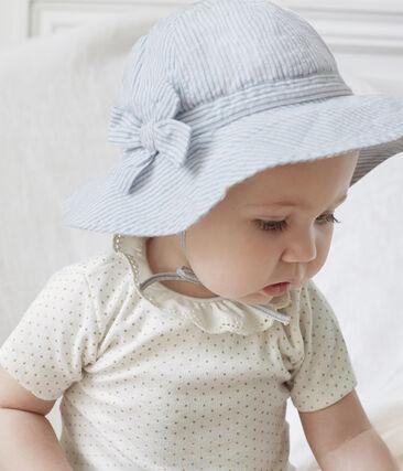 Hütchen aus Seersucker für kleine Mädchen. weiss Marshmallow / blau Acier