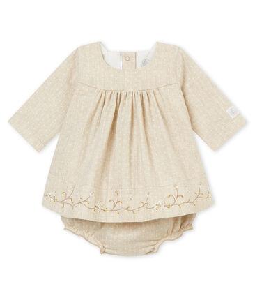 Baby MädchenKleid mit Bloomers beige Creamy Chine