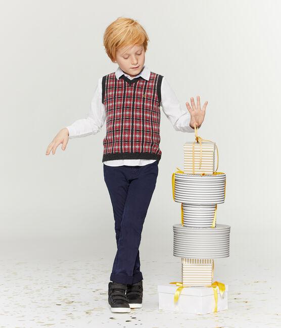 Ärmelloser Pullover für Jungen grau Subway / weiss Multico