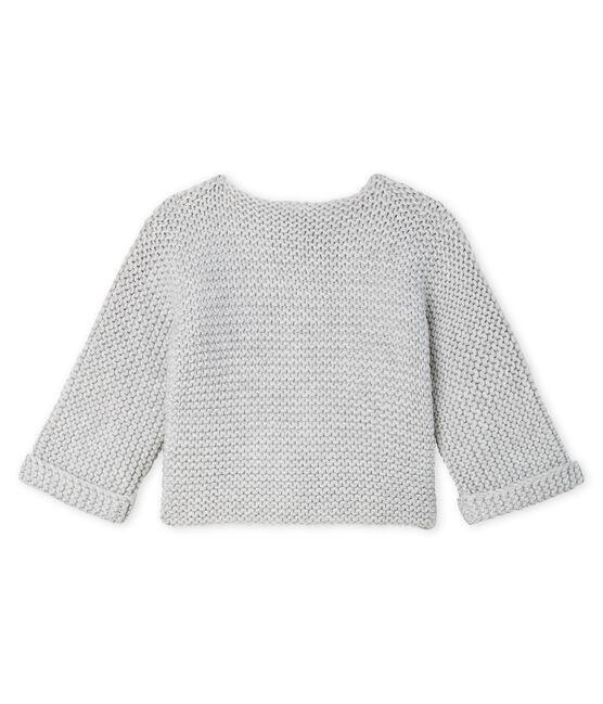 Baby-Cardigan aus Woll-Baumwoll-Mischung in Krausstrick für Mädchen grau Beluga