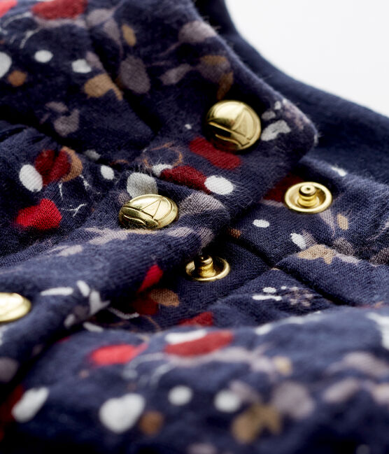 Gesteppter Baby MädchenCardigan aus gedoppeltem Jersey mit Print blau Smoking / weiss Multico