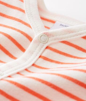 Baby-Strampler aus Rippstrick für Jungen weiss Marshmallow / orange Orient