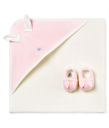 Box aus quadratischem Unisex-Baby-Badetuch und Hausschuhen
