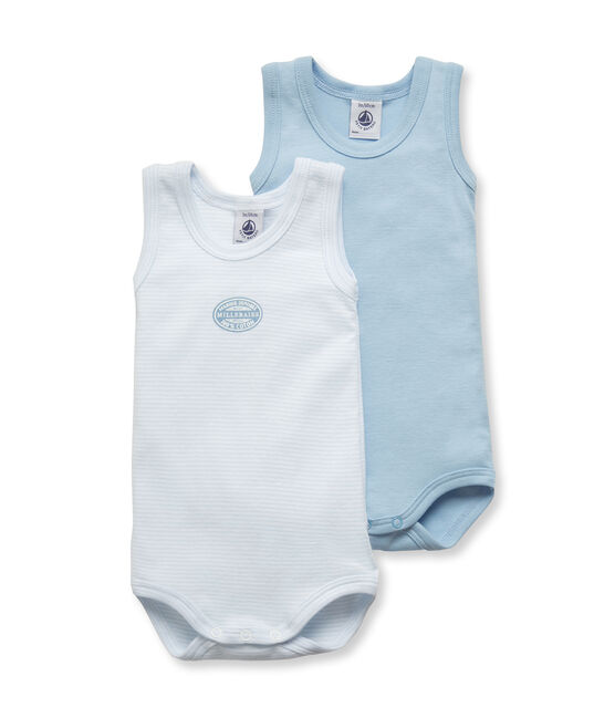 2-er Pack Baby-Bodys für Jungen, ärmellos, uni/geringelt lot .