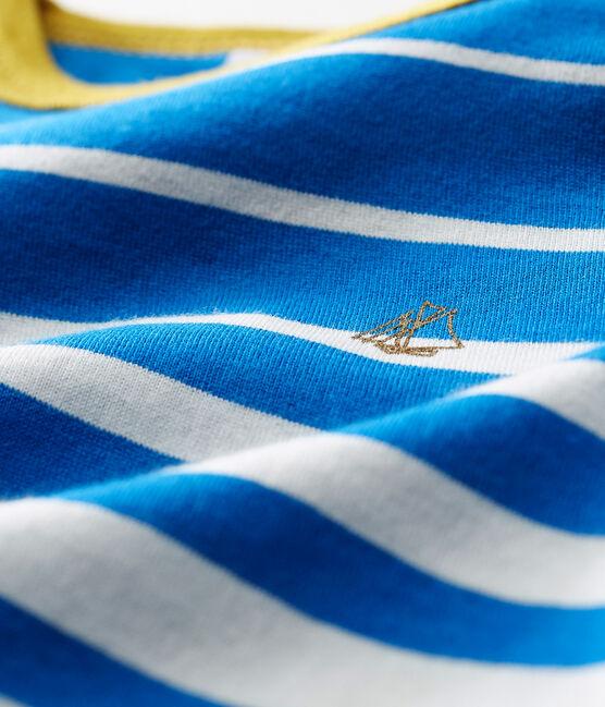 Kurzärmeliges gestreiftes baby-t-shirt jungen blau Riyadh / weiss Marshmallow
