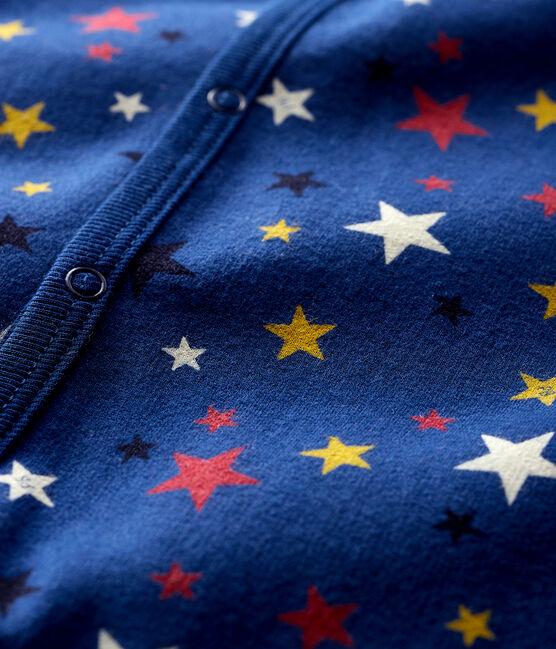 Baby-Strampler mit Sternen-Motiv aus Molton blau Medieval / weiss Multico