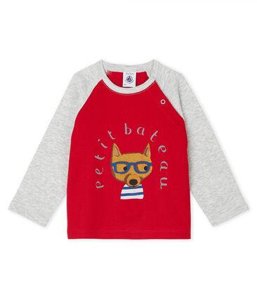 Langärmeliges Baby-T-Shirt für Jungen rot Terkuit / grau Beluga