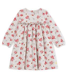 Langärmeliges gemustertes Babykleid für Mädchen grau Beluga / weiss Multico