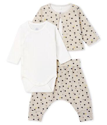 3-teiliges Baby-Set aus Wolle und Baumwolle für Jungen beige Montelimar / weiss Multico