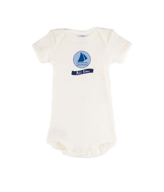 Kurzärmeliger Baby-Body für Mädchen weiss Marshmallow / blau Jasmin