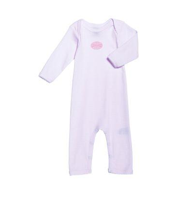 Langer Baby-Body für Mädchen, geringelt rosa Vienne / weiss Ecume