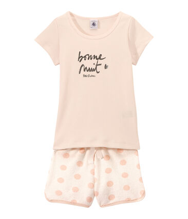 Kurzer Mädchen-Schlafanzug im Materialmix weiss Lait / rosa Rose