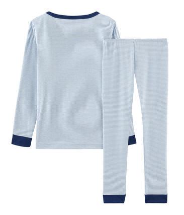 Sehr eng anliegender Rippstrick-Pyjama für kleine Jungen blau Acier / weiss Marshmallow
