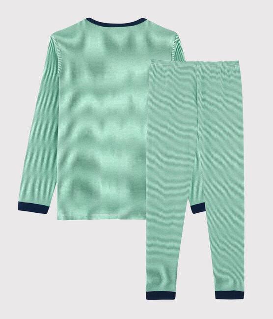 Rippstrick-Pyjama mit Ringelmuster für Jungen grün Prado / weiss Marshmallow