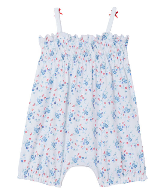 Kurzer Baby-Mädchen-Einteiler mit Print weiss Ecume / blau Bleu