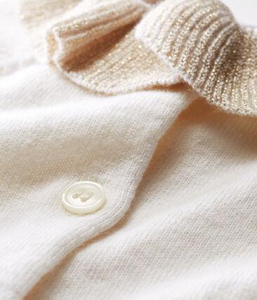 Baby-Cardigan aus Woll-/Baumwollstrick für Mädchen weiss Marshmallow