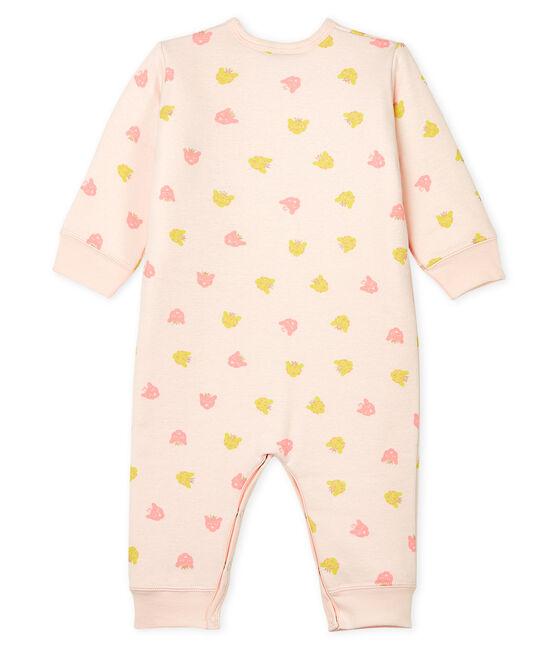 Baby-Strampler ohne Fuß aus wattiertem Rippstrick rosa Fleur / weiss Multico