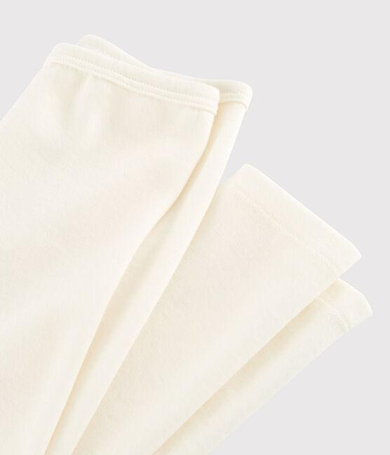 Einfarbige Leggings aus Wolle und Baumwolle für Kinder beige Ecru