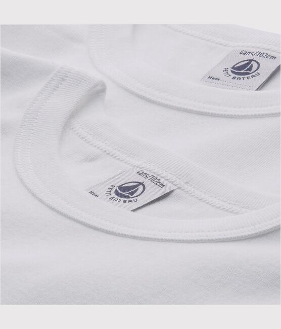 Set aus zwei weißen T-Shirts mit kurzen Ärmeln für kleine Jungen lot .