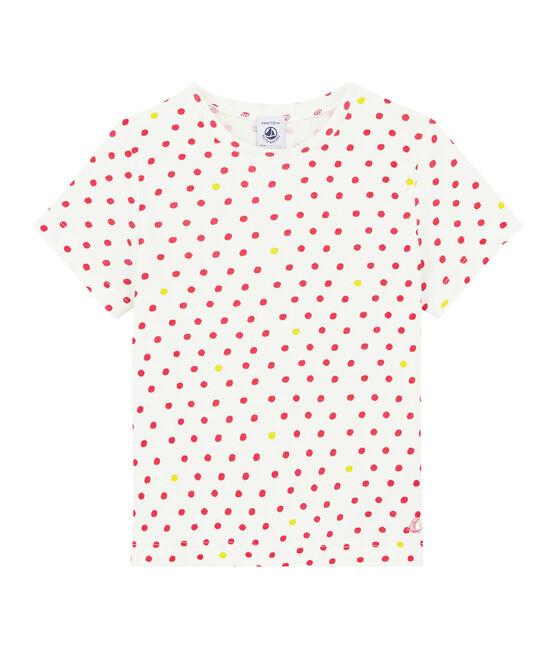 Kurzärmliges T-Shirt für Mädchen weiss Marshmallow / weiss Multico