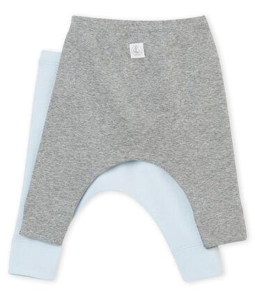 Zwei Unisex Baby Leggings aus angerautem 1x1 Rippstrick in Uni