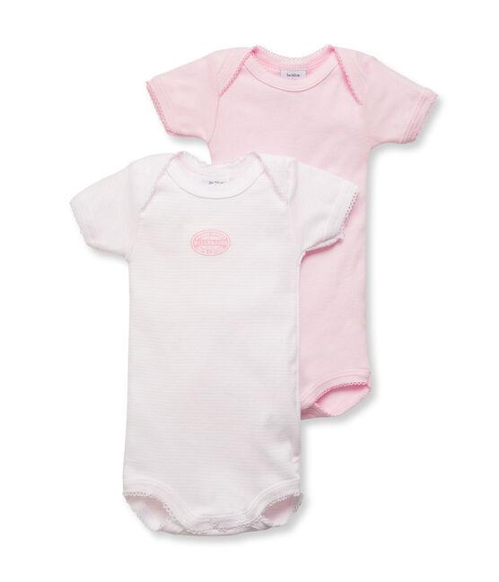 2-er Pack Baby-Bodys, Kurzarm, für Mädchen uni/geringelt lot .