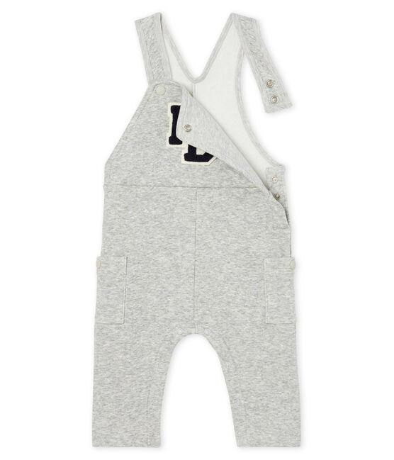 Lange Baby-Latzhose aus Samtstrick für Jungen. grau Beluga