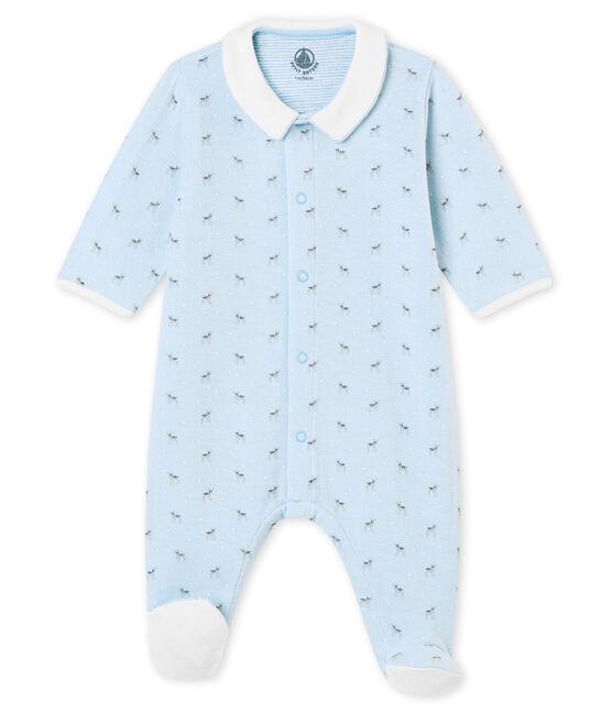 Baby Jungen Strampler aus gedoppeltem Jersey mit Print blau Fraicheur / weiss Multico