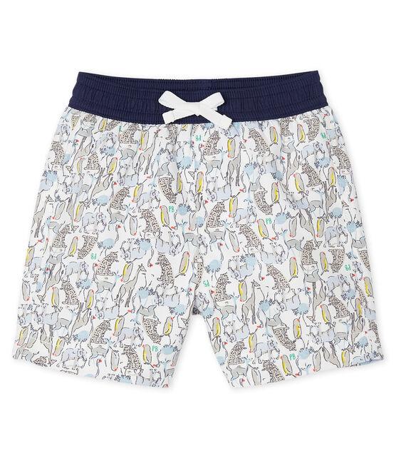 Gemusterte Baby-Strandshorts für Jungen weiss Marshmallow / weiss Multico