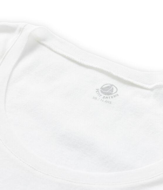Damen-T-Shirt aus leichter Baumwolle weiss Lait