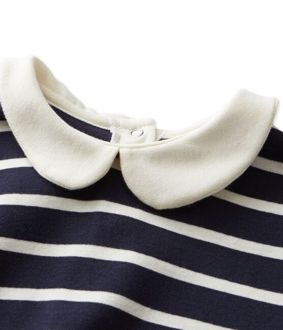 T-shirt fille manches longues rayé blau Smoking / beige Coquille