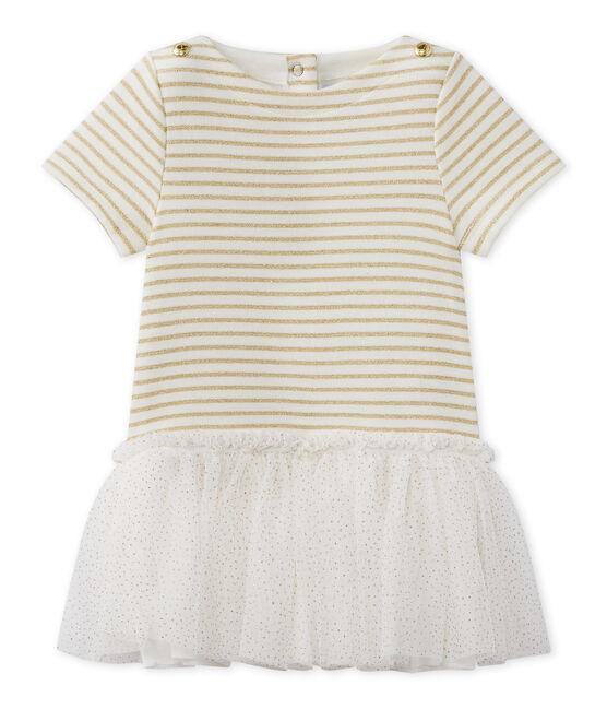 Kurzärmeliges Baby-Mädchen-Kleid weiss Marshmallow / braun Em Dore