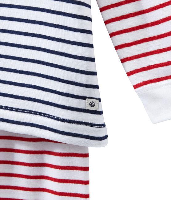 Gestreifter Jungen-Schlafanzug weiss Ecume / weiss Multico