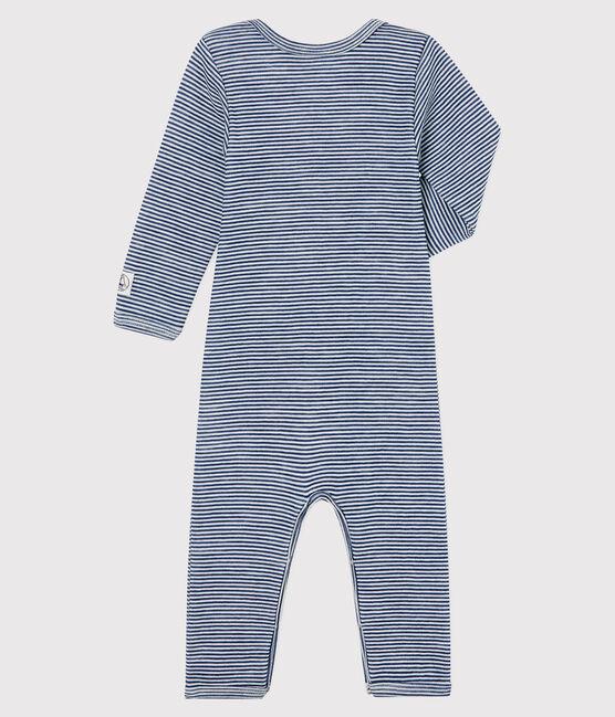 Baby-Body mit langen Beinen und Streifen aus Wolle und Baumwolle blau Medieval / weiss Marshmallow
