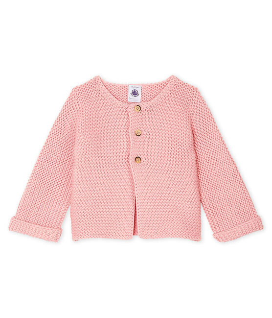 Baby-Cardigan aus Woll-Baumwoll-Mischung in Krausstrick für Mädchen CHARME