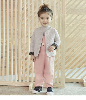 Baby-Cardigan aus gestepptem Doppeljersey für Mädchen grau Beluga