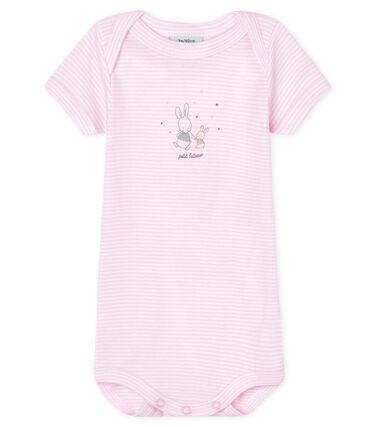 Kurzärmeliger Baby-Body für Mädchen rosa Doll / weiss Ecume