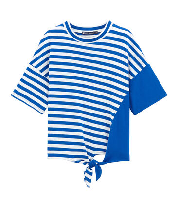 Damen-strandshirt blau Perse / weiss Marshmallow