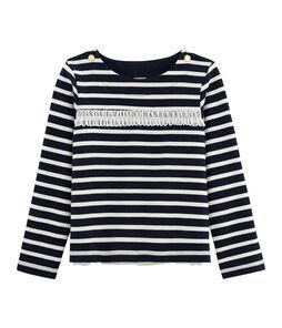 Langärmliges Streifenshirt für Mädchen blau Smoking / beige Coquille
