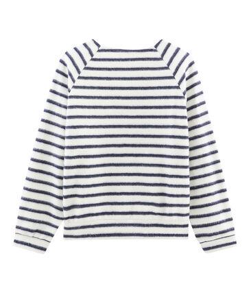 Ultra-weiches Streifenshirt für Damen beige Coquille / blau Smoking
