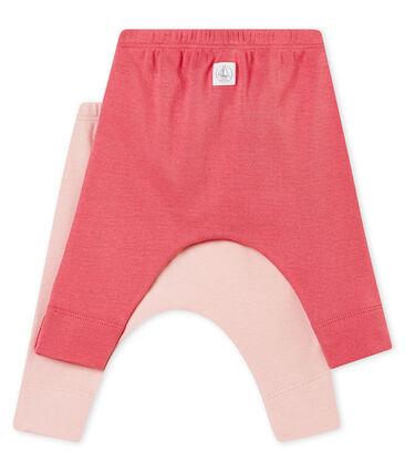 Zwei Unisex Baby Leggings aus angerautem 1x1 Rippstrick in Uni lot .