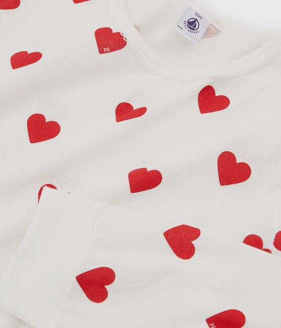Pyjama aus Rippstrick mit Herzchen-Print für Mädchen/Frauen weiss Marshmallow / rot Terkuit