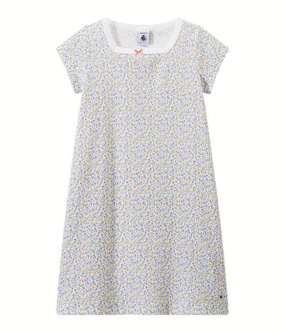 Bedrucktes Mädchen-Nachthemd weiss Ecume / weiss Multico