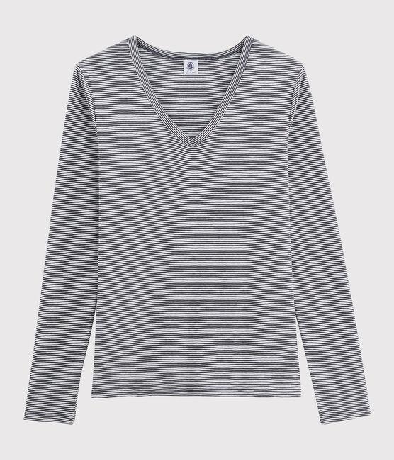 Damen-T-Shirt mit V-Ausschnitt blau Smoking / weiss Marshmallow