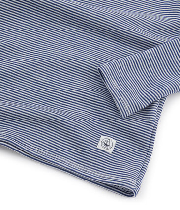 Langärmeliges T-Shirt aus Wolle und Baumwolle für Kinder blau Medieval / weiss Marshmallow