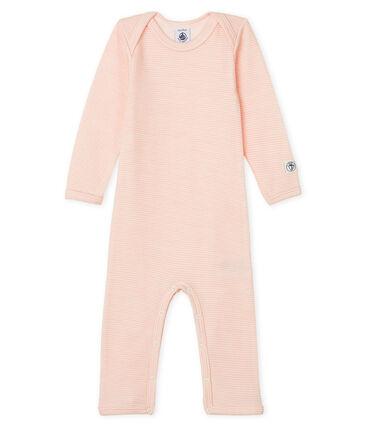 Baby-Body mit langen Beinen aus Wolle und Baumwolle rosa Charme / weiss Marshmallow