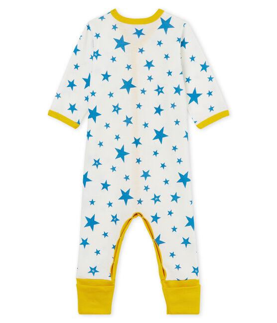 Baby-Strampler ohne Füße aus Rippstrick für Jungen weiss Marshmallow / blau Alaska