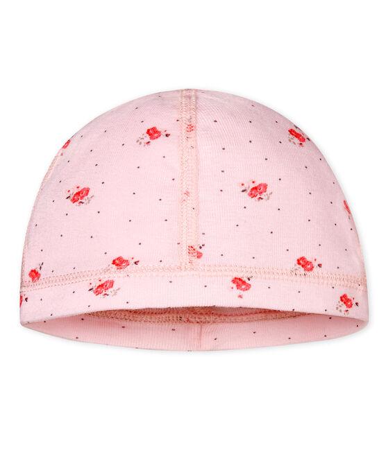 Gemusterte baby-mütze für neugeborene unisex rosa Vienne / weiss Multico