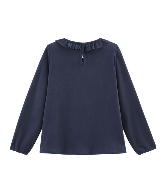 Langärmeliges Kinder-T-Shirt Mädchen blau Smoking