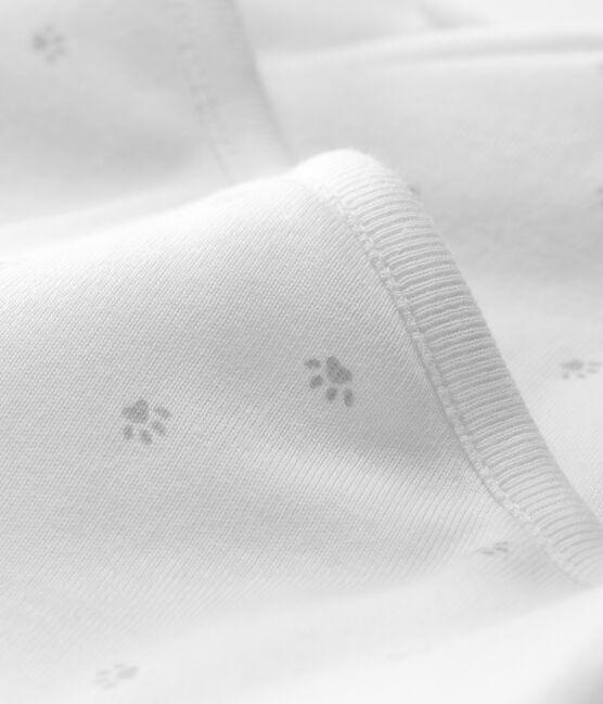 Langer Baby-Overall aus wattiertem Rippstrick weiss Marshmallow / grau Souriceau